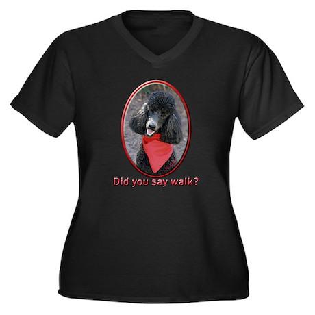 Poodle Walk Women's Plus Size V-Neck Dark T-Shirt