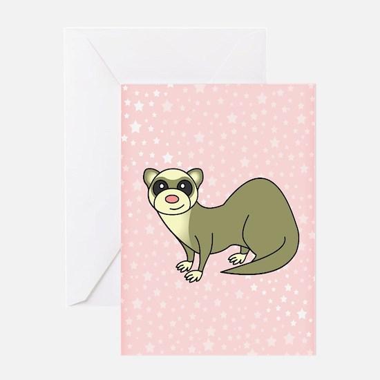Cute Ferret Pink Star Greeting Card