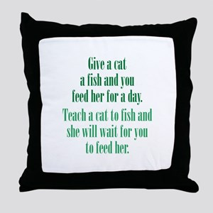 Give a Cat a Fish (Female) Throw Pillow