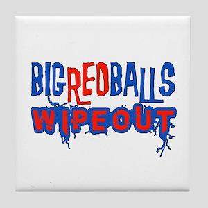 Big Red Balls Wipeout Tile Coaster