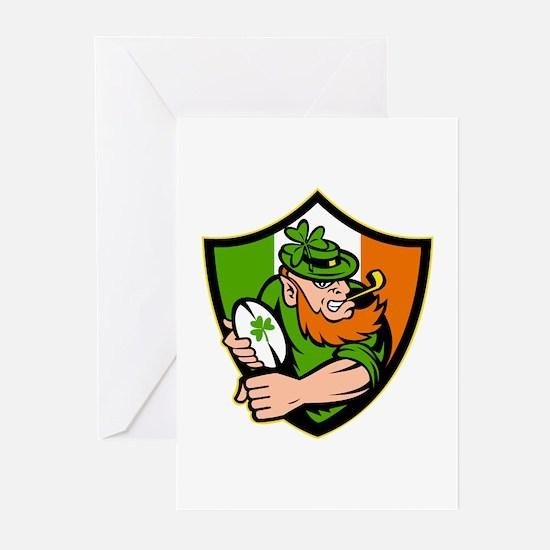 Irish leprechaun rugby Greeting Cards (Pk of 10)