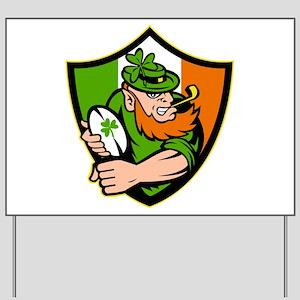 Irish leprechaun rugby Yard Sign