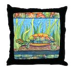 Tie Dye Turtle Watercolor Throw Pillow