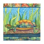 Tie Dye Turtle Watercolor Tile Coaster