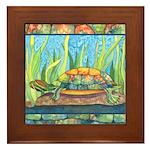 Tie Dye Turtle Watercolor Framed Tile