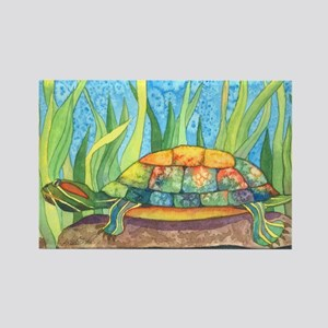 Tie Dye Turtle Watercolor Rectangle Magnet