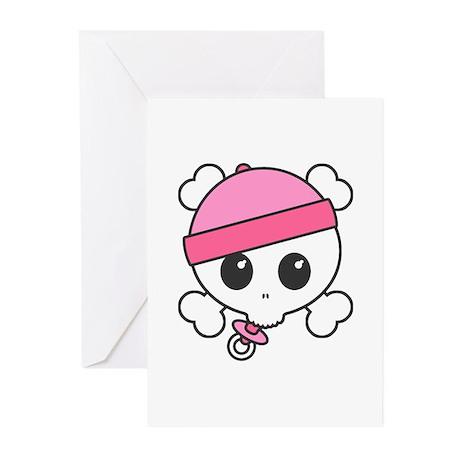 Baby Girl Skully Greeting Cards (Pk of 10)