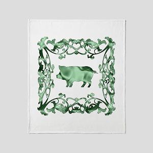 Pig Lattice Throw Blanket