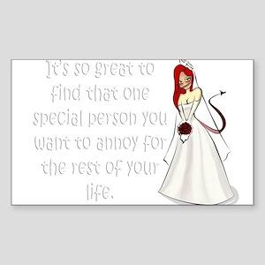 Green eyed, redhead bride Sticker (Rectangle)