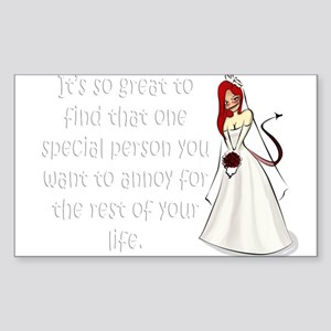 Red eyed, redhead bride Sticker (Rectangle)