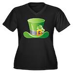 St. Patrick's Day Women's Plus Size V-Neck Dark T-