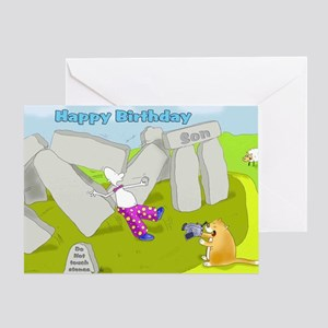 Funny stone henge Birthday Son Card