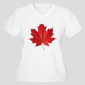 Maple Leaf Women's Plus Size V-Neck T-Shirt