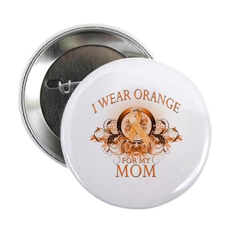 "I Wear Orange for my Mom (floral) 2.25"" Button (10"