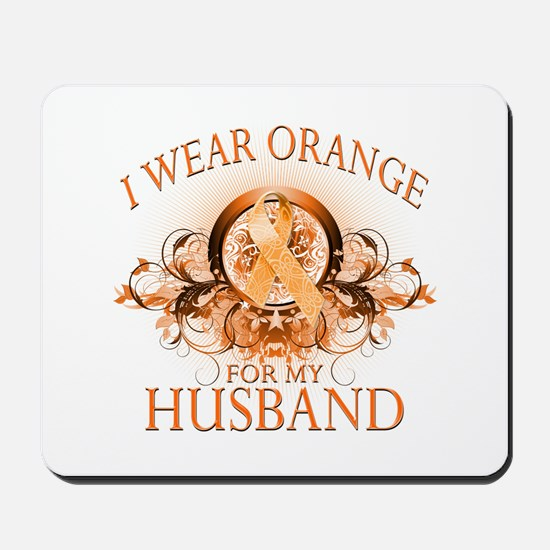 I Wear Orange for my Husband (floral) Mousepad
