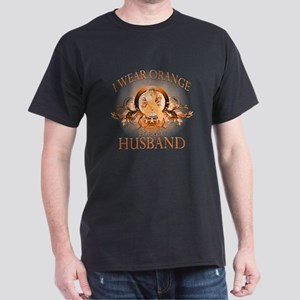 I Wear Orange for my Husband (floral) Dark T-Shirt