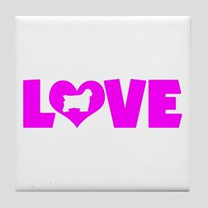 LOVE CLUMBER SPANIEL Tile Coaster