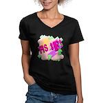 As if! Women's V-Neck Dark T-Shirt