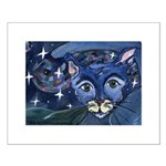 Cat 5 On a Starry Starry Night Small Poster
