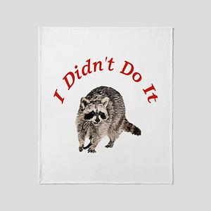 Raccoon Humorous Throw Blanket