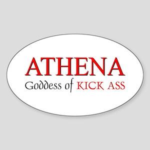 """""""Athena: Goddess of KICK ASS"""" Oval Sticker"""