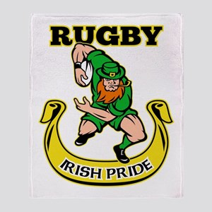Irish leprechaun rugby Throw Blanket