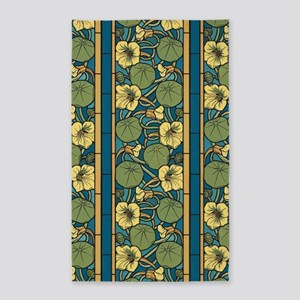 Blue and Yellow Floral Nouveau Area Rug