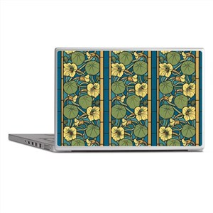 Blue and Yellow Floral Nouveau Laptop Skins