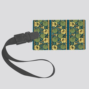 Blue and Yellow Floral Nouveau Large Luggage Tag