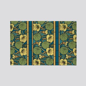Blue and Yellow Floral Nouveau Magnets
