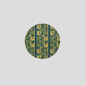 Blue and Yellow Floral Nouveau Mini Button