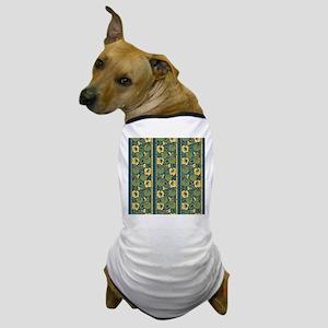 Blue and Yellow Floral Nouveau Dog T-Shirt