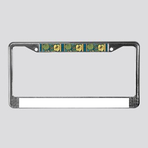 Blue and Yellow Floral Nouveau License Plate Frame