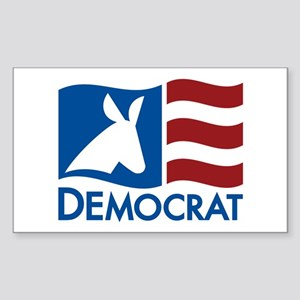 Democratic Flag Sticker (Rectangle)