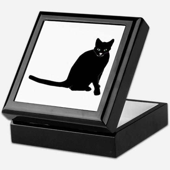 Sitting Black Cat Keepsake Box