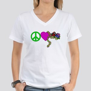 PEACE LOVE MARDI GRAS Women's V-Neck T-Shirt