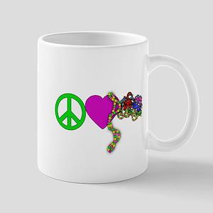 PEACE LOVE MARDI GRAS Mug