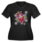 cacats and cosmos Women's Plus Size V-Neck Dark T-