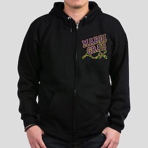 Mardi Gras in Purple and Green Zip Hoodie (dark)