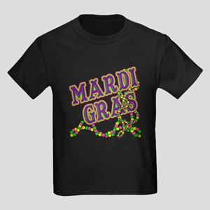 Mardi Gras in Purple and Green Kids Dark T-Shirt