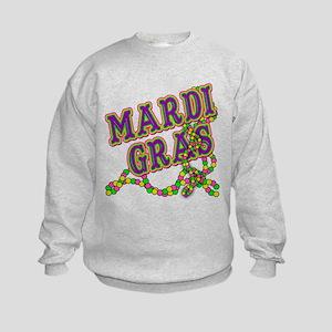 Mardi Gras in Purple and Green Kids Sweatshirt