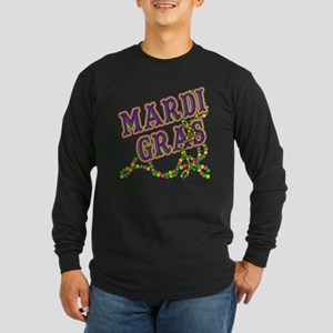 Mardi Gras in Purple and Green Long Sleeve Dark T-