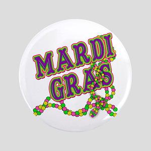 """Mardi Gras in Purple and Green 3.5"""" Button"""
