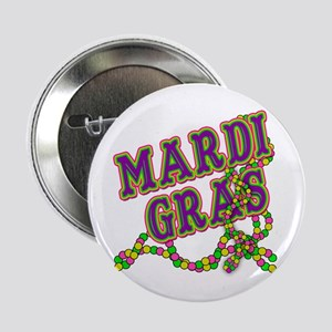 """Mardi Gras in Purple and Green 2.25"""" Button"""