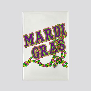 Mardi Gras in Purple and Green Rectangle Magnet