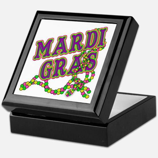 Mardi Gras in Purple and Green Keepsake Box