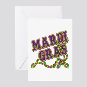 Mardi Gras in Purple and Green Greeting Cards (Pk