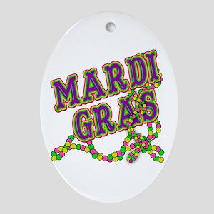 Mardi Gras in Purple and Green Ornament (Oval)
