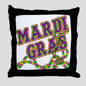 Mardi Gras in Purple and Green Throw Pillow