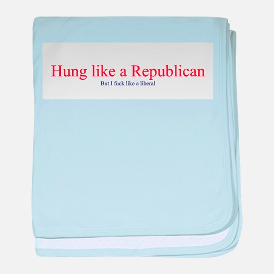 Hung Like a Republican baby blanket